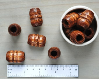 Macrame Beads // Large Wooden Beads // Large Hole Beads // Dark Stained Wood Macrame Beads // Package of 5 // W090