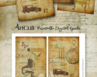 Printable Download AGED STORYBOARD No2.  Four Designed Backgrounds Digital Collage Sheet for scrapbooking decoupage craft paper by ArtCult