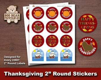 Thanksgiving, Thanksgiving Labels, Thanksgiving Stickers, Printable, 2 Inch Round, Avery 22807, Party Favors, Gift Tags, Digital Download