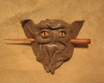 Grichels leather hair thing stick barrette - chocolate brown with poppy orange slit pupil reptile eyes