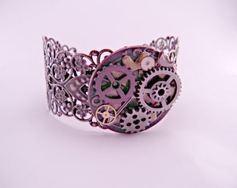 Industrial Steampunk Brass Watch Part Filigree Cuff Bracelet