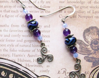 Celtic Amethyst Earrings Sterling Silver Lampwork Beads