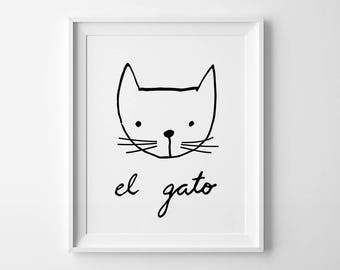 Nursery print, funny cat print, kids decor, nursery art, kids bedroom decor, animal lover gift, playroom wall art, cat lover gift cat poster