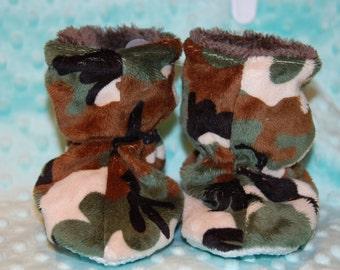 Green Camo Minky boy Slippers -  Boy Slippers - Liner warm cuddle minky