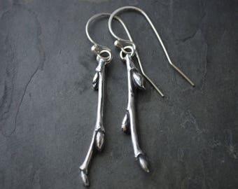 Twig Earrings, Branch Earrings, Botanical Earrings, Sterling Silver, Rustic Earrings, Nature Earrings, Redbud Earrings, Oklahoma