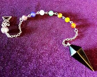 Luciferian Chakra Pendulum - sigil of lucifer black agate scrying divination chakra pendulum gemstone beads gothic witch