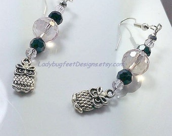 EARRINGS, OWL CRYSTAL Dangles