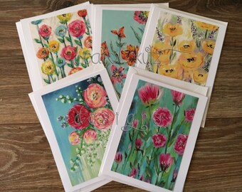 Flower Garden Greeting Card Set with Envelopes / 5 floral prints of original art / Blank Greeting Card Set / Art Prints / All Occasion