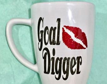 Goal Digger, glitter mug, 12 oz,  career woman gift, co-worker gift, Christmas gift