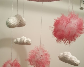 Mobile cloud baby girl Crochet white and pink