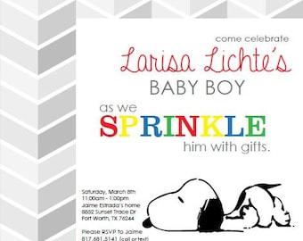 Snoopy baby shower etsy custom snoopy baby shower invitation filmwisefo