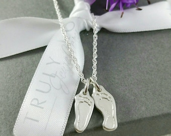 Fingerprint Jewellery - Sculpted footprint necklace/ sterling silver pendant/baby or child's actual footprints/for mummy