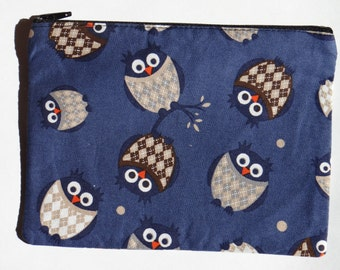 Blue owl flat pencil case