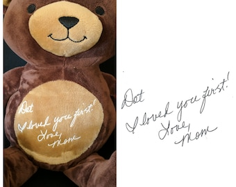 Custom Plush stuffed animal with your loved ones handwriting on it, Handwritten gift, Personalized