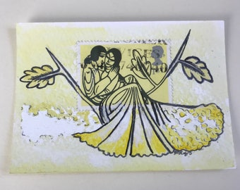 ACEO love, lovers, original painted aceo, postage stamp aceo, yellow aceo, art trading card original, couple, in love, asian