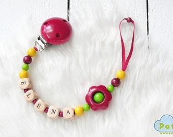 Dummy Clip, Personalized YOUR BABY NAME, Soother, Pacifier, Binky Holder, Wood Beads