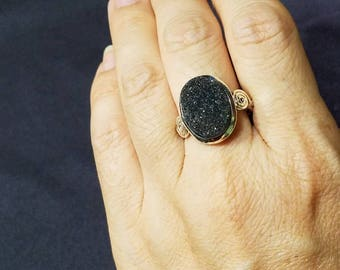 Druzy Ring / Black Druzy Ring / Sterling Silver Ring / Boho Ring / Statement Ring / Druzy Quartz / Shiny Ring / Gift for Her / Ring size 9
