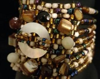 Warm Tones Abstract Seed Bead Bracelet