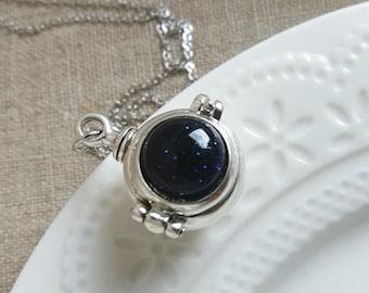 Ball Locket Necklace. Ball Silver Locket. Keepsake Necklace. Antique Silver Locket. Long Necklace. Round Small Locket, Christmas Gift
