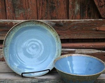 Light Blue with brown accent Plate and Bowl Set
