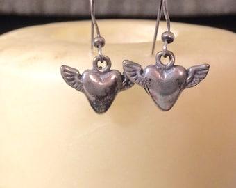 Winged Heart earrings, Heart with Wings earrings, Flying heart earrings, Sterling Heart with Wings, Sterling Flying Heart earrings