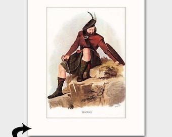 Clan MacKay Family Art Print w/Mat (Scottish Highlands Gift, Green Tartan, Hilt Sword & Shield) --- Matted Scotland Art