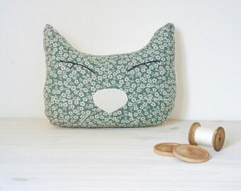 Hand sewn decorative cat pillow