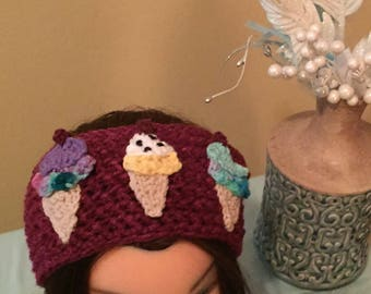 Crochet Ice Cream Ear Warmer
