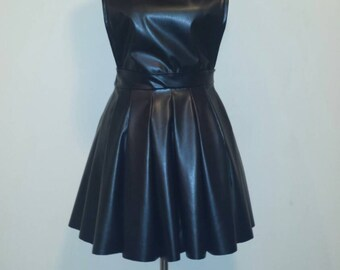Leather scuba skirt overalls