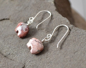 Jasper Bear Earrings, Pink Stone Earrings, Bear Totem, Bear Jewelry, Flower Jasper
