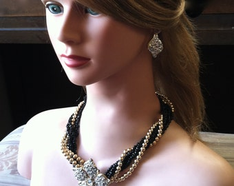 "Vintage 70's ""6 STRAND NECKLACE & EARRiNG SET"" With a Rhinestone Flower Pendant"