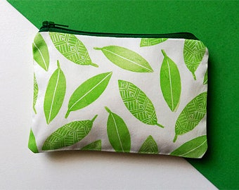 Hand Printed Green Leaves Coin Purse