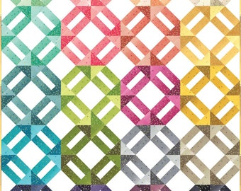 Moda Ombre Confetti Metallic Quilt Kit  V and Co Gold Pink Yellow Green Blue Fabric