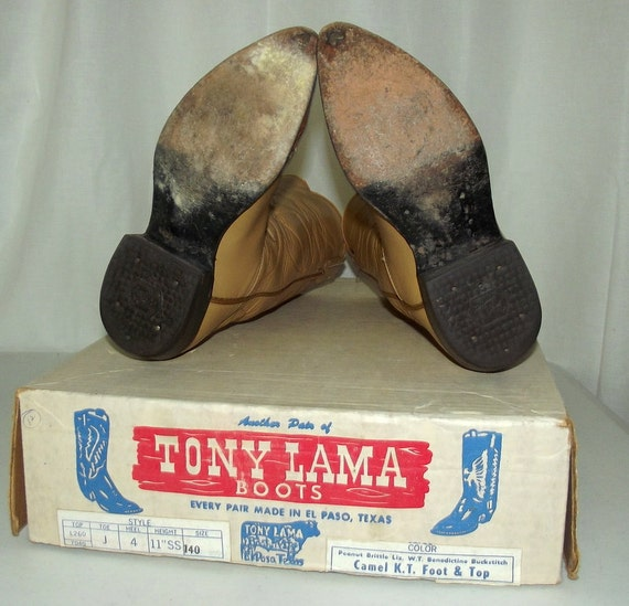 Width Size A Narrow Vintage Box Label 4 Cowboy Original Old Boots West Tony Lama Black pxpqnFwHS