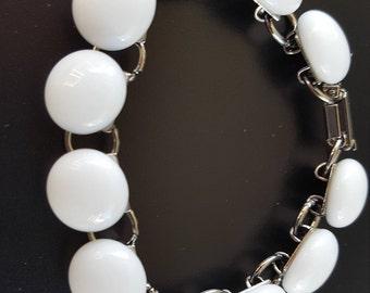 White Glass Pebble Bracelet