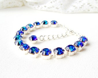 Blue Purple Peacock rhinestone bracelet / heliotrope bracelet / Swarovski crystal / gift for her / Statement bracelet / Tennis bracelet