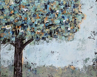 """Tree, canvas, painting, abstract art,  3/4"""" thick canvas, On My Own"""