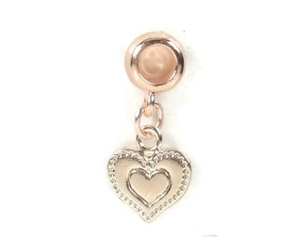 Rose Gold Bracelet Charm, Heart Charm, Rose Gold Plated Large Hole Bead, Charm Bracelet Bead, Charm Bracelet, European Charm