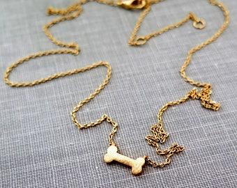 Tiny Bone Necklace, Gold Necklace,  Horizontal Bone Necklace, Simple Gold Jewelry, Gold Layering Necklace, Dog Necklace, Dog Lover Gift