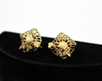 Filigree Style Earrings with Faux Pearls, Vintage Earrings