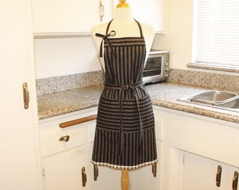 Navy Gray Strap Full Apron