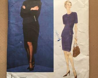 90s Vogue 1867 American Designer Carolina Herrera Lined Dress with Peplum Size 12 14 16 Bust 34 36 38