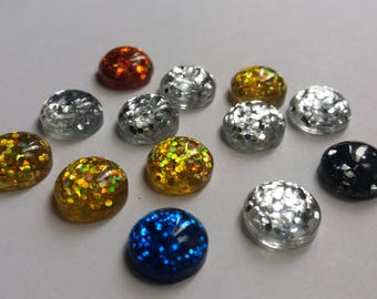 Set of 13 Cabochons glitter