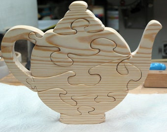 Grandma's Wood Teapot Stand Up Puzzle