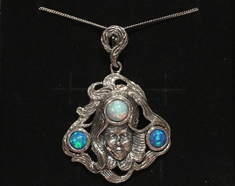 """Stunning Vintage Art NOUVEAU Style Sterling Silver & OPAL Like Stone LADY Pendant-Lovely Rainbow Colours-46cm (18"""") Sterling Silver Chain"""