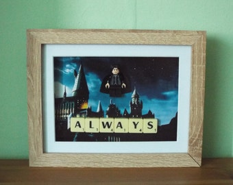 Severus Snape Custom mini figure with scrabble tiles in a frame. Harry Potter. Always.