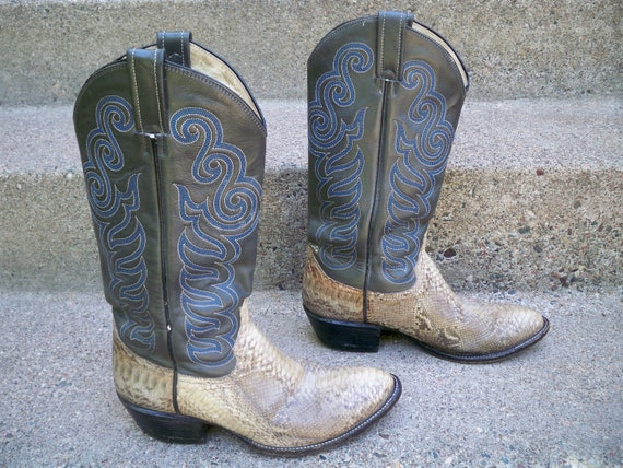 Pull Leather Tone Men's Boots Size 9 2 Western Snakeskin On Vintage amp; Cowboy dqXYzw4x4