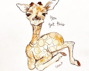 You got this baby giraffe illustration, printed on archival quality paper, Measures 8x10 inches