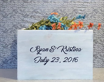 Unique Wedding Card Box, White Washed, Rustic Card Box, Wood Card Box, Money Box, Can Be Personalized