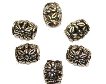 Silver Floral Filigree Tube Beads